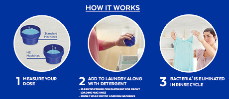 To eliminate bacteria in your laundry rinse cycle, measure your dose of Lysol Laundry Additive and add to your laundry along with detergent.