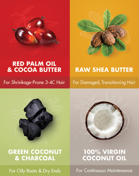 RED PALM OIL & COCOA BUTTER For Shrinkage-Prone 3-4C Hair RAW SHEA BUTTER For Damaged, Transitioning Hair GREEN COCONUT & CHARCOAL For Oily Roots & Dry Ends 100% VIRGIN COCONUT OIL For Continuous Maintenance