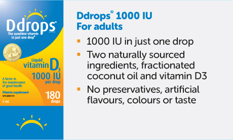 Ddrops® 1000 IU intended for adults. Provides 1000 IU of vitamin D3 in just one drop. No sugary gummies or large capsules.