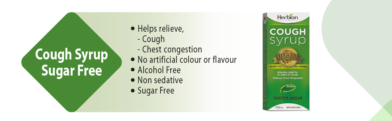 Herbion Cough Syrup Sugar Free helps relieve cough and chest congestion.
