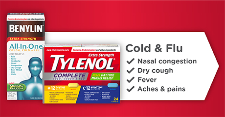 Cold & Flu. Nasal congestion. Dry cough. Fever. Aches and pains. Benylin® All in One and Tylenol® Complete Cold, Cough and Flu
