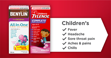 Children's Fever headache Sore throat pain Aches & pains Chills Benylin® All In one Cold & Fever, Children's Tylenol® Complete