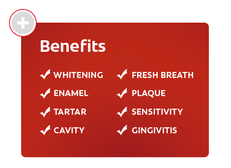 Benefits • Whitening • Enamel • Tartar • Fresh Breath • Plaque • Sensitivity • Cavity • Gingivitis