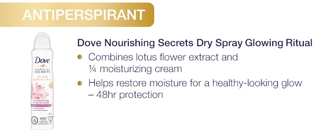 ANTIPERSPIRANT. Dove Nourishing Secrets Dryspray Glowing Ritual. Combines lotus flower extract and ¼ moisturizing cream.	Helps restore moisture for a healthy-looking glow – 48hr protection.