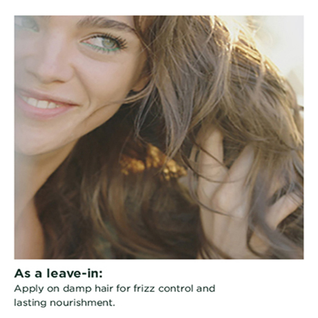 As a leave-in : After on damp hair for frizz control and lasting nourishment.