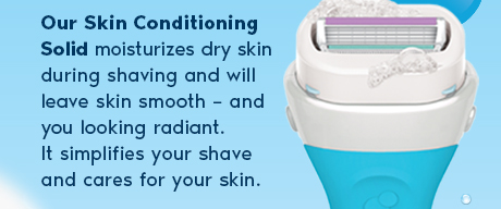 Our Skin Conditioning Solid moisturizes dry skin during shaving and will leave skin smooth – and you looking radiant. It simplifies your shave and cares for your skin.