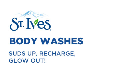 St. Ives® Body Washes SUDS UP, RECHARGE, GLOW OUT!