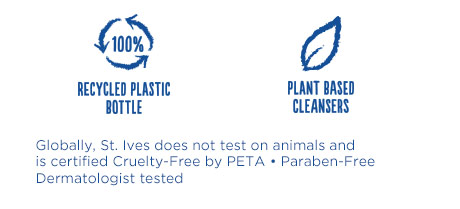 Globally, St. Ives does not test on animals and is certified Cruelty-Free by PETA – Paraben-Free – Dermatologist tested
