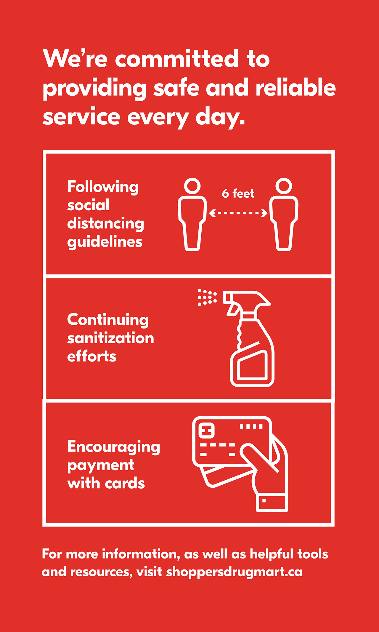 We're committed to providing safe and reliable service every day. Following 6 feet social distancing guidelines, Continuing sanitization efforts, Encouraging payment with cards. For more information, as well as helpful tools and resources, visit shoppersdrugmart.ca