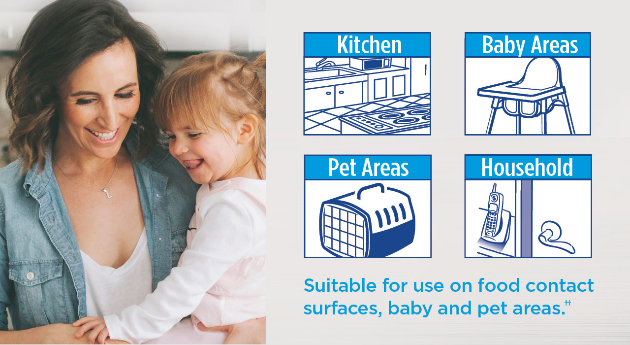 Plus they are suitable for use on food contact surfaces, baby and pet areas, and for other areas around the house.