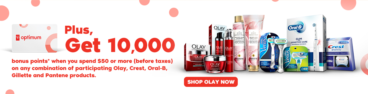 Get 10,000 bonus points*. Shop Olay now.