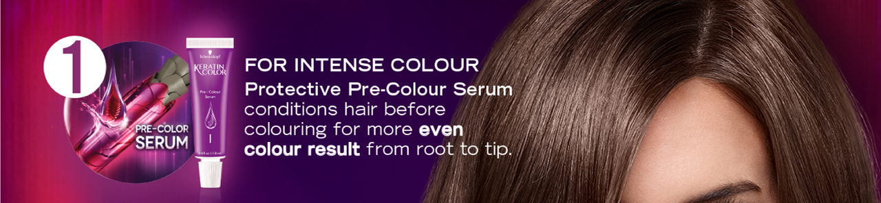 1. FOR INTENSE COLOR: Protective Pre-Color Serum conditions hair before coloring for more even color result from root to tip.