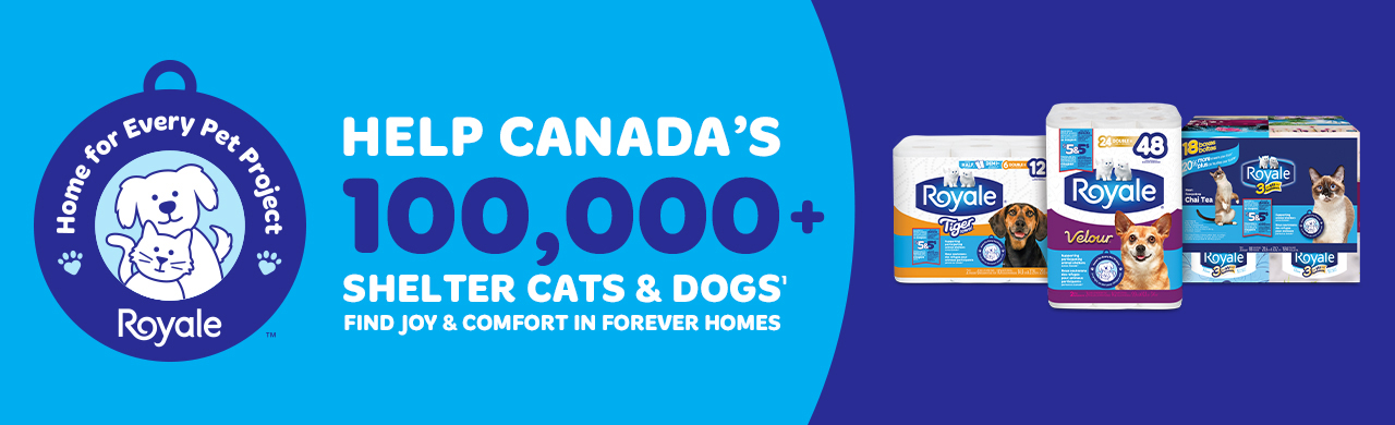 The ROYALE® Home for Every Pet Project. 1Based on 2018 Canadian Animal Shelter Statistics Report, Humane Canada