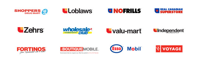 Logos: Loblaws, Pharmaprix/Shoppers Drug Mart, No Frills, Real Canadian Superstore, Zehrs, Wholesale Club, Valu-mart, Independent, Fortinos, La Boutique Mobile, Esso, Mobil, Services de Voyage PC.
