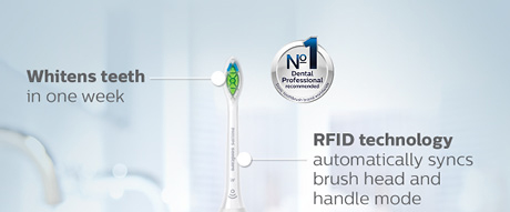 Whitens teeth in one week Number 1 Dental Professional recommended sonic toothbrush brand worldwide. RFID technology automatically syncs brush head and handle mode. RFID technology automatically syncs brush head and handle mode