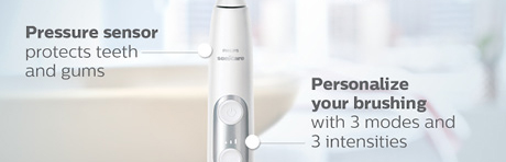 Pressure sensor protects teeth and gums. Personalize your brushing with 3 modes and 3 intensities