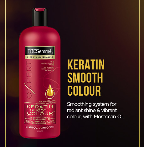 KERATIN SMOOTH COLOUR. Smoothing system for radiant shine & vibrant colour, with Moroccan Oil.