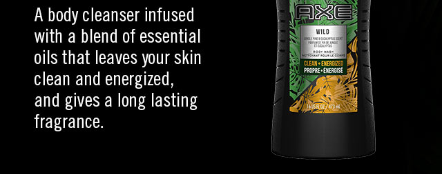 A body cleanser infused with a blend of essential oils that leaves your skin clean and energized, and gives a long lasting fragrance.