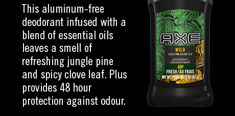 This aluminum-free deodorant infused with a blend of essential oils leaves a smell of refreshing jungle pine and spicy clove leaf. Plus provides 48 hour protection against odour.