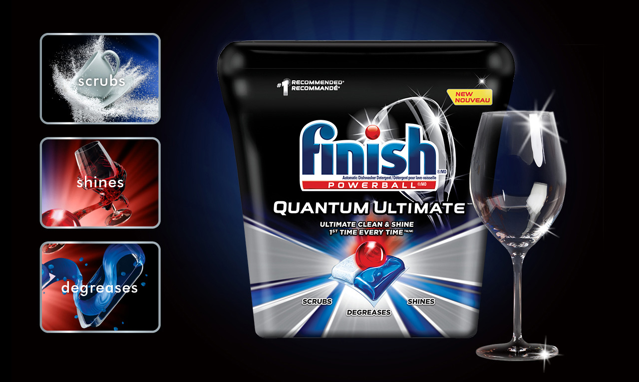 Scrubs. Shines. Degreases. One tab is all you need for the ultimate clean and shine. Try New Finish® Quantum Ultimate™.