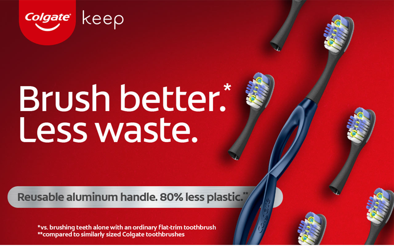 Brush better. Less waste. Reusable aluminum handle. 80% less plastic, compared to similarly sized Colgate toothbrushes.