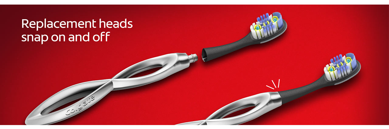 Replacement heads snap on and off. Floss-tip bristles.