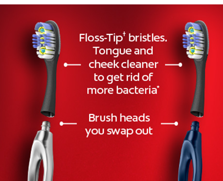 Tongue and cheek cleaner to get rid of more bacteria. Brush heads you swap out. A grip that doesn't slip. Aluminum handle lasts a lifetime.