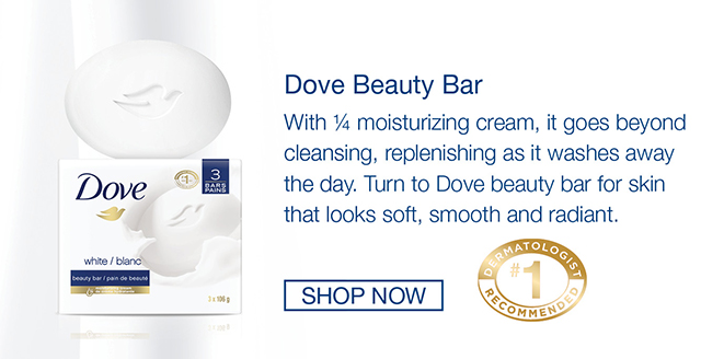 Dove Beauty Bar with ¼ moisturizing cream. It cleanses & replenishes. Dove beauty bar for skin that looks soft, smooth and radiant. #1 dermatologist recommended bar.