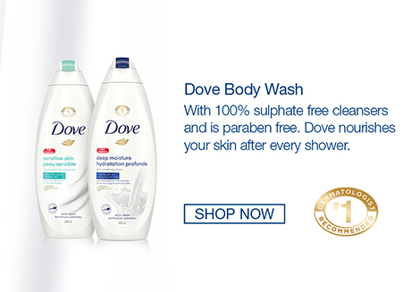 Dove Body Wash with 100% sulphate free cleansers. Paraben free and #1 dermatologist recommended. Dove nourishes your skin after every shower.