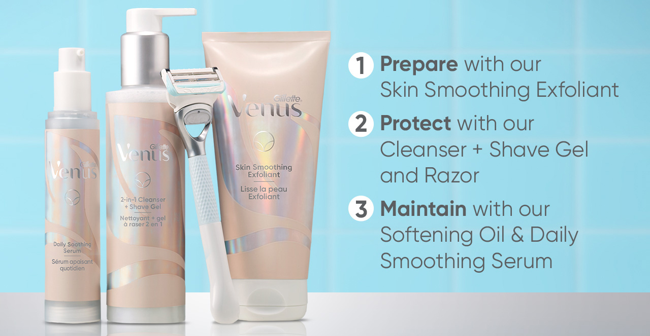 Venus products for pubic hair grooming and skin care.