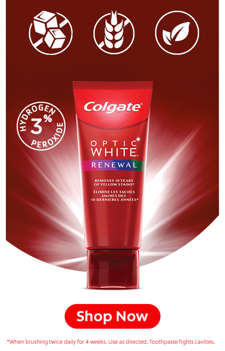 Colgate Optic White Renewal while being safe for the enamel is also gluten free, sugar free and vegan. SHOP NOW.