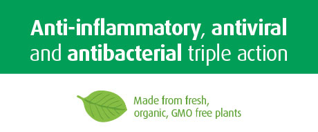 Anti-inflammatory, antiviral and antibacterial triple action.