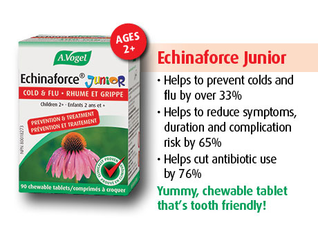 Echinaforce Junior helps prevent colds and flu by over 33%. Helps reduces symptoms, duration, complication risk and  antibiotic use by 76%.