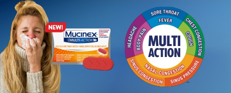Sometimes you are sick with more than just chest congestion. Get Multi-Symptom relief*  with new Mucinex® Multi-ActionTM.