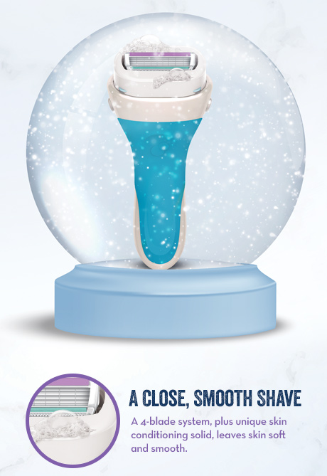 A Close, Smooth Shave A 4-blade system, plus unique skin conditioning solid, leaves skin soft and smooth.