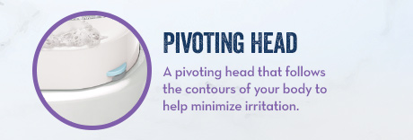 Pivoting Head. A pivoting head that follows the contours of your body to help minimize irritation.