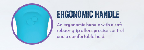 Ergonomic Handle. An ergonomic handle with a soft rubber grip offers precise control and a comfortable hold.