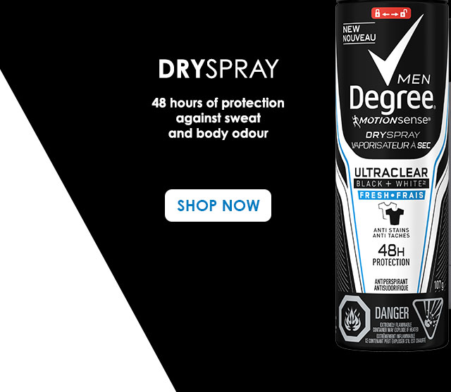 Dryspray 48 hours of protection against sweat and body odour SHOP NOW