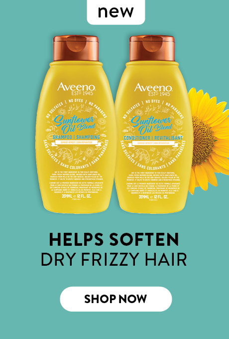 New AVEENO® Sunflower Oil Blend Shampoo and Conditioner. Helps soften dry frizzy hair. Shop now.
