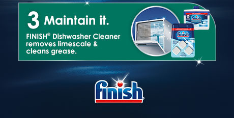 Step 3: Maintain your dishwasher with Finish® Dishwasher Cleaner that removes limescale and cleans grease.