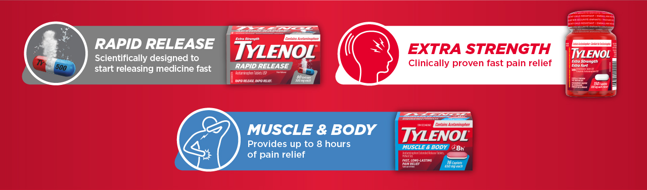 Rapid Release. Extra Strength (clinically proven fast pain relief). Muscle & Body (provides up to 8 hours of pain relief)