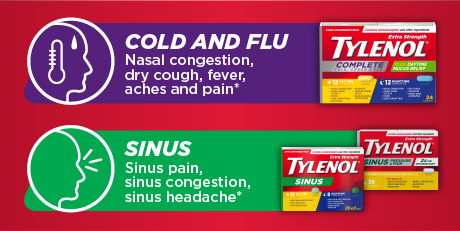 Cold and Flu (nasal congestion, dry cough, fever, aches and pain). Sinus (sinus pain, sinus congestion, sinus headache).