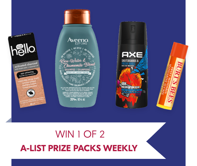 1 of 2 A-LIST PRIZE PACKS weekly (Valued at $550)