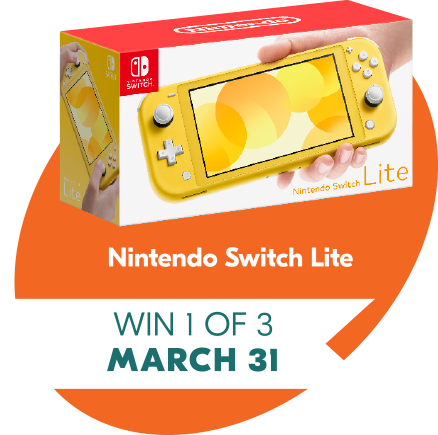 March 31 win 1 of 3 Nintendo Switch Lite Prizes