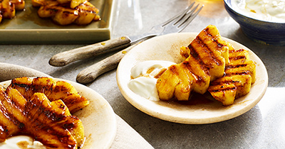 Cinnamon-Scented Grilled Pineapple With Honey And Yogurt