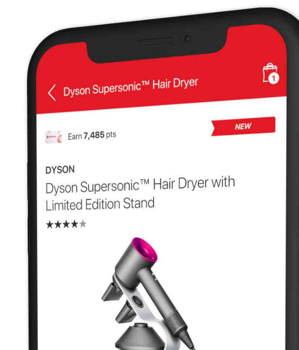Image of The Shoppers Drug Mart App® on a phone displaying: Dyson Supersonic Hair Dryer