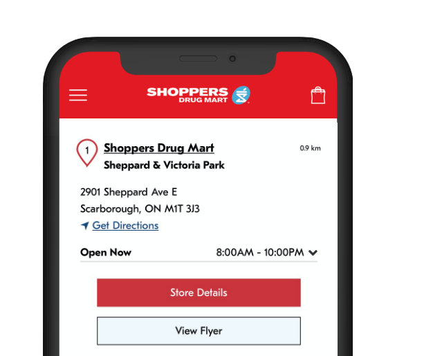 Image of The Shoppers Drug Mart App® on a phone displaying the Store Locator