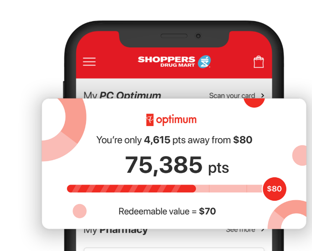 Image of The Shoppers Drug Mart App® on a phone displaying: PC Optimum points balance