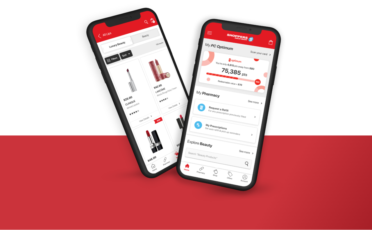 Image of The Shoppers Drug Mart App® on two phones displaying the beauty section and the PC Optimum section.