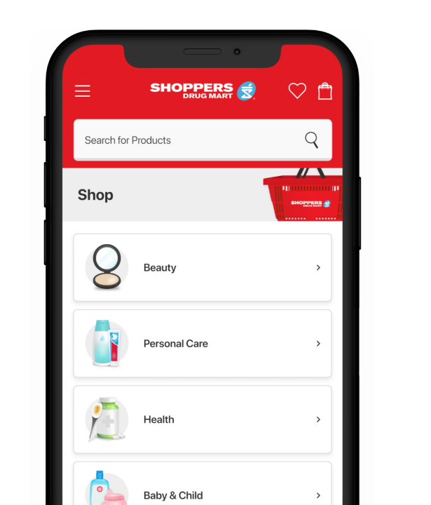 Image of The Shoppers Drug Mart App® on a phone displaying: Shop.